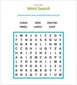 Easy school word search printable