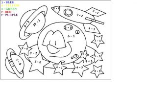 Easy subtraction coloring worksheets