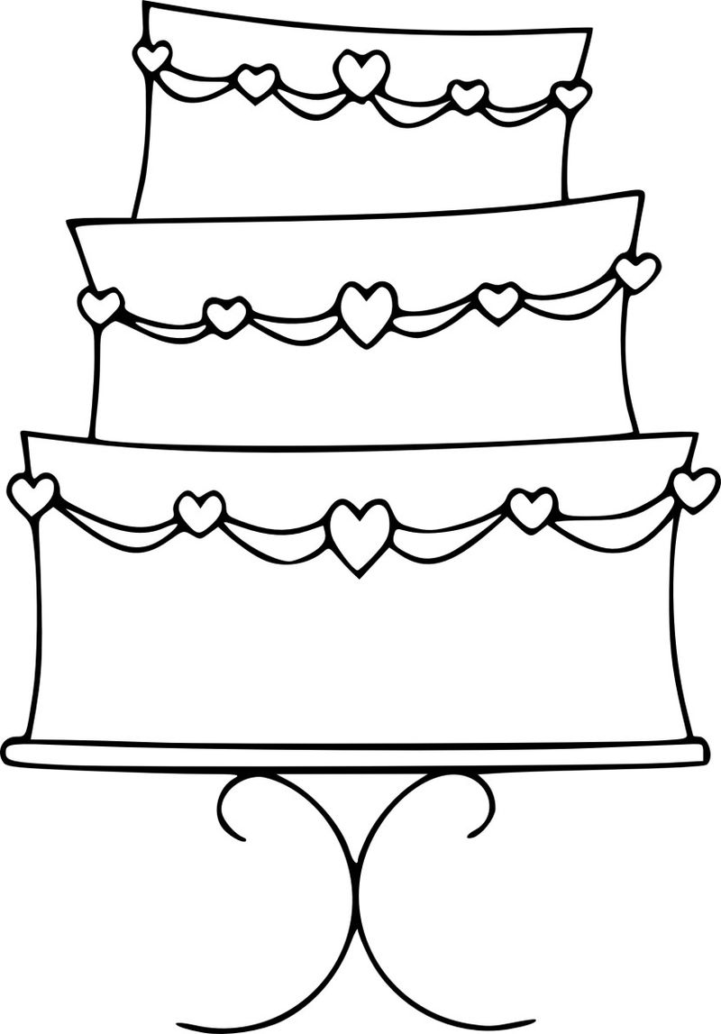 Easy Wedding Cake Clipart For Coloring