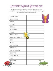 Easy word scrambles for kids insect 001