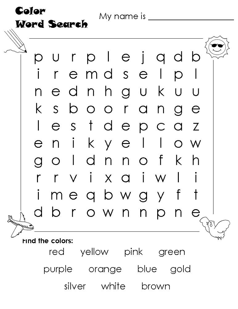 Easy Word Search Color - Coloring Sheets
