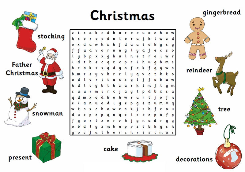 Easy Word Search For Kids Christmas