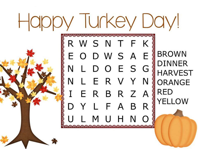 Easy Word Search For Kids Thanksgiving