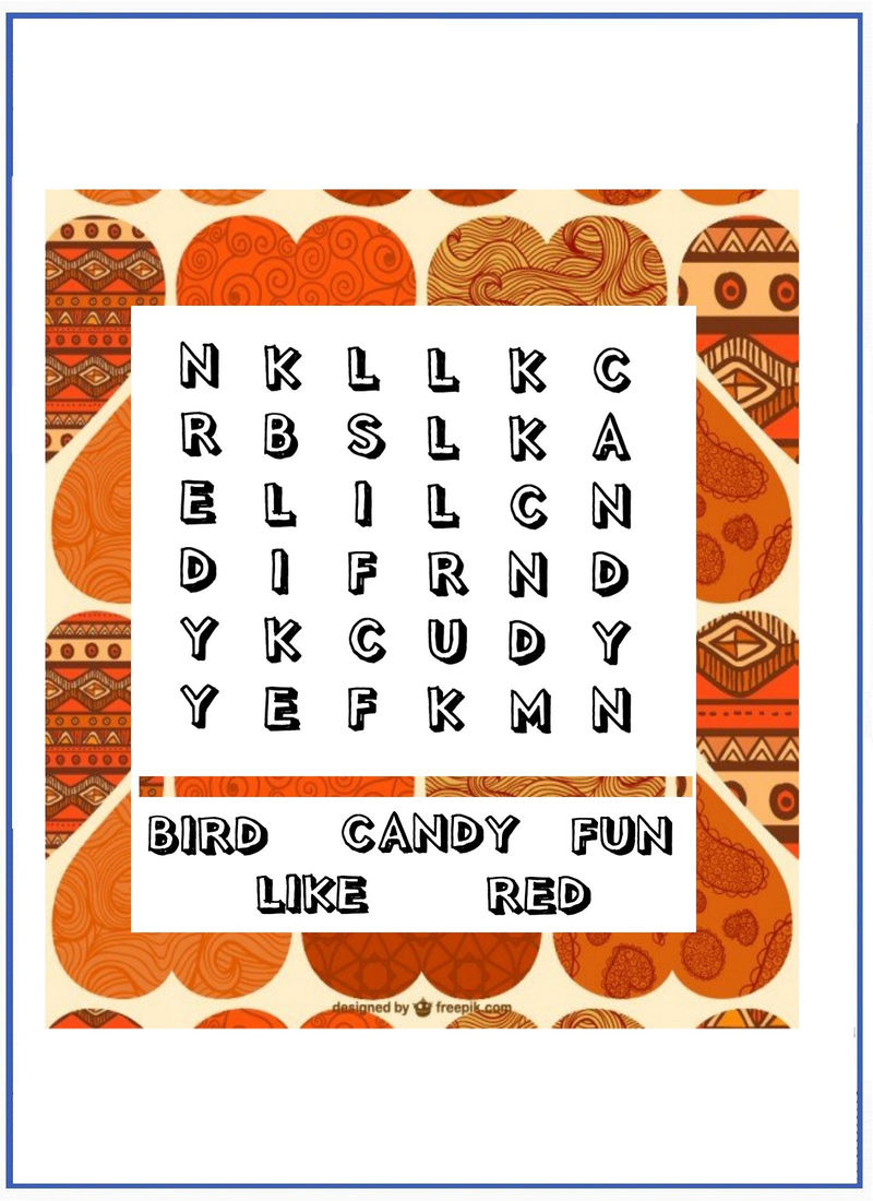 Easy Word Search Puzzles Valentine - Coloring Sheets