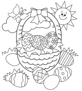 Eggs in easter basket coloring pages