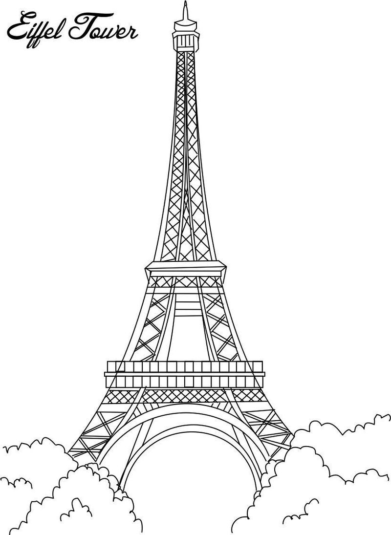 Eiffel Tower Coloring Pages For Kids 001