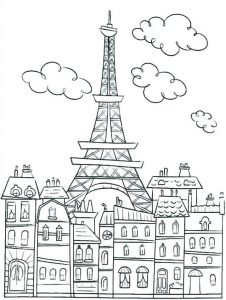 Eiffel tower paris cute coloring pages for adults