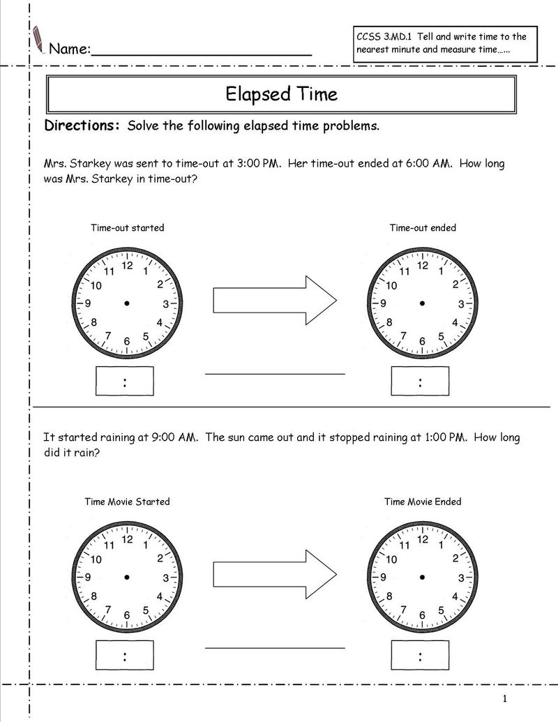 Elapsed Time Ruler Worksheet