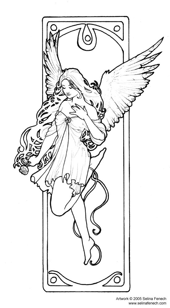 Elegant Fairy Coloring Page