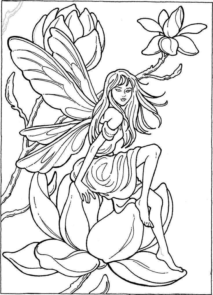 Elegant Flower Fairy Coloring Pages