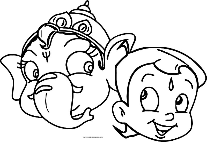 Elephant And Chhota Bheem Face Coloring Page