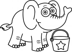 Elephant cartoon funny coloring page