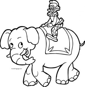 Elephant clown cartoon boy coloring page
