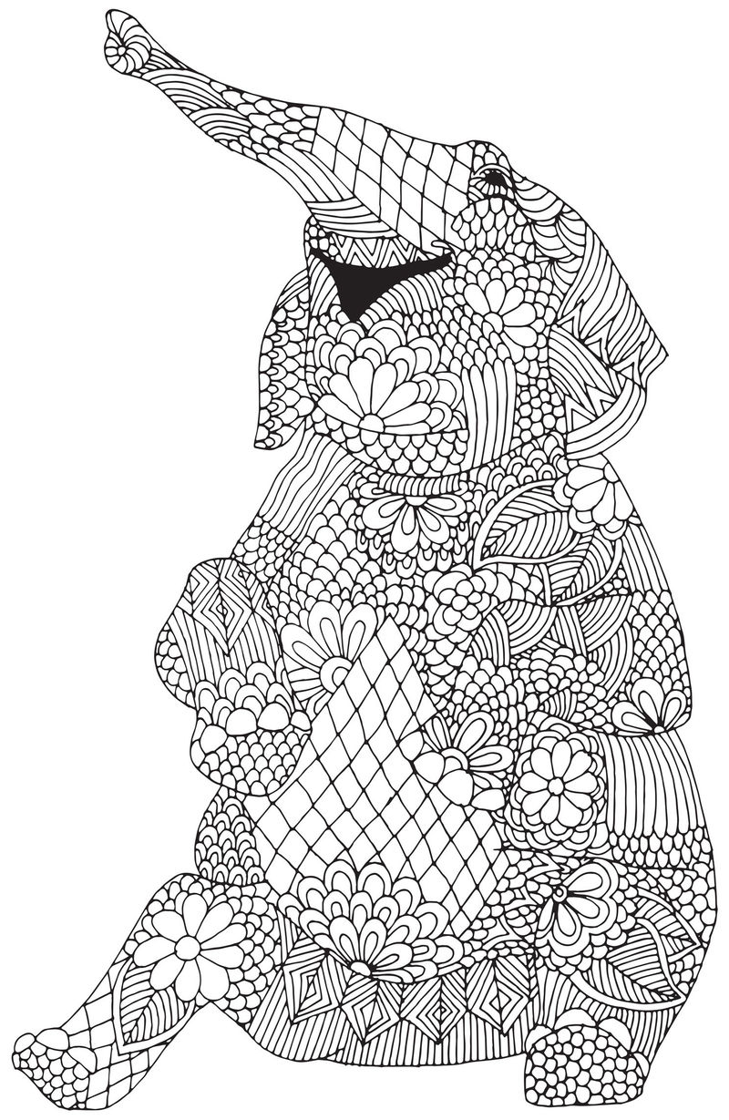 Elephant Coloring Page For Adults