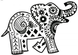 Elephant coloring pages for adults 001