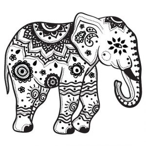 Elephant coloring pages for adults to print