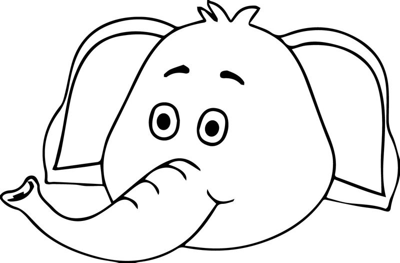 Elephant Cute Face Coloring Page