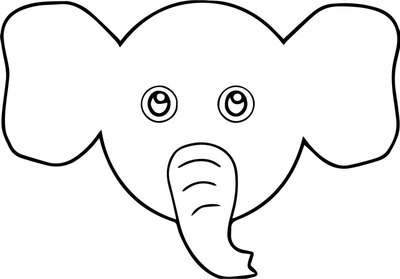 Elephant Face Cartoon Coloring Page