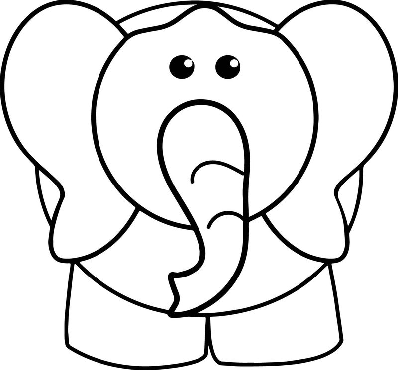 Elephant Front View Coloring Page