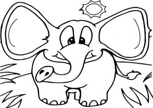 Elephant in the forest coloring page