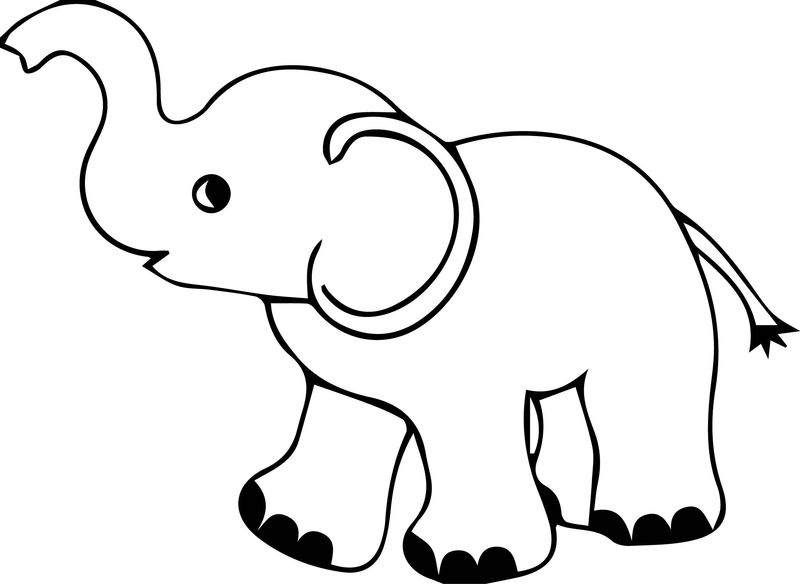 Elephant Kids Walk Coloring Page