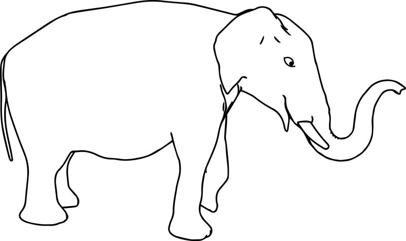 Elephant Line Coloring Page