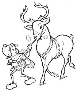 Elf and reindeer coloring pages