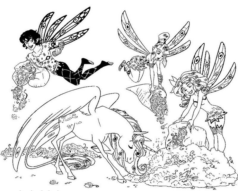 Elf And Unicorn Mia And Me Coloring Sheet