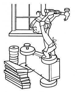 Elf building wagon coloring page