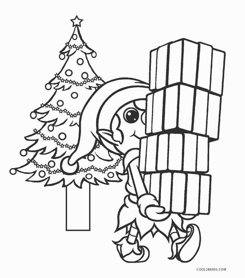 Elf Carrying Presents Coloring Page