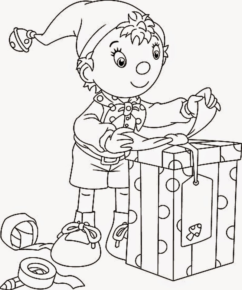 Elf Wrapping Christmas Gifts Coloring Page
