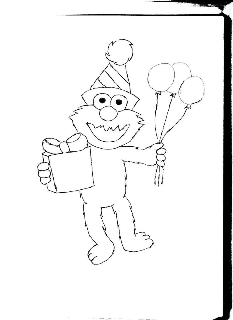 Elmo Birthday Coloring Pages 001 - Coloring Sheets