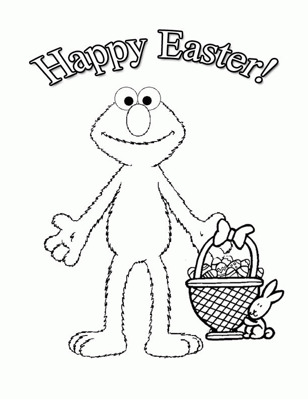 Elmo Happy Easter Coloring Pages