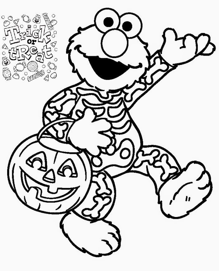 Elmos Halloween Costume Coloring Page
