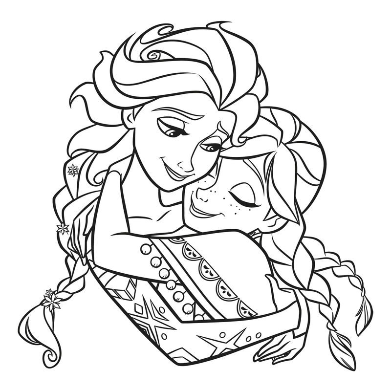 Elsa And Anna Sisters Coloring Page