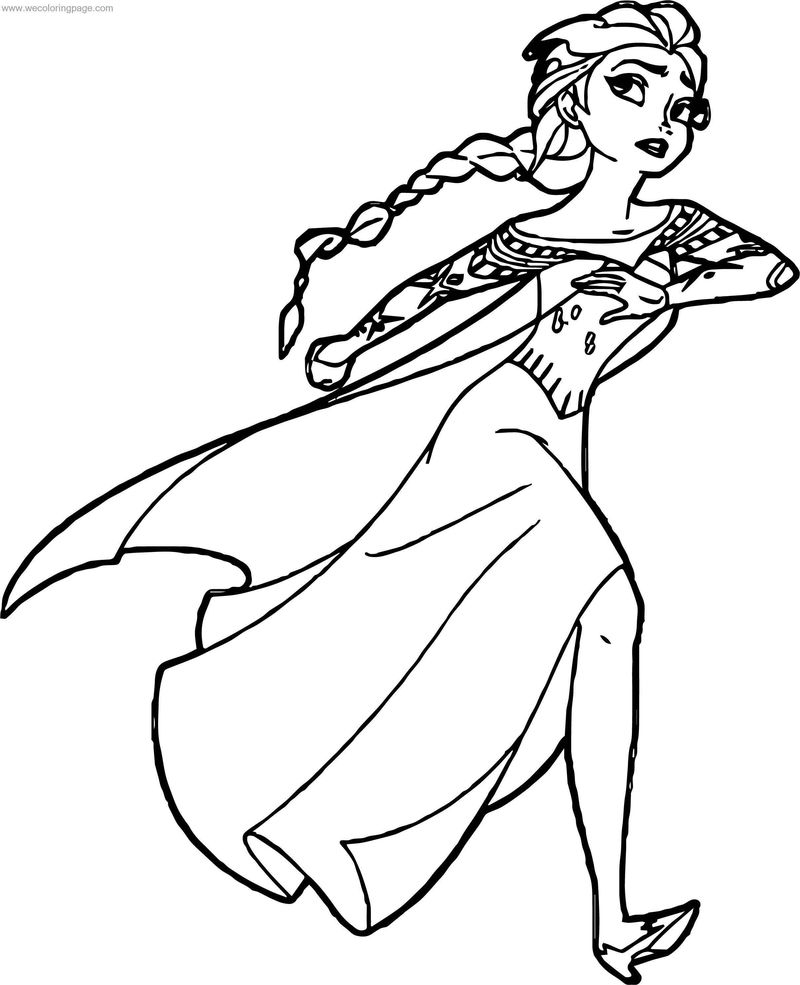 Elsa Running Coloring Page