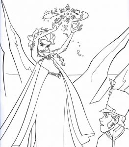 Elsas magic disney coloring pages