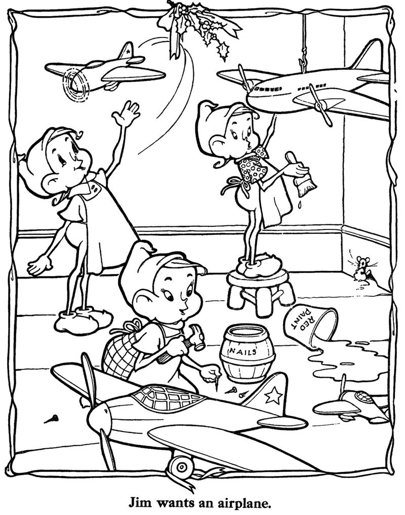 Elves Building Airplanes Coloring Pages