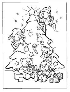 Elves decorating for christmas coloring page