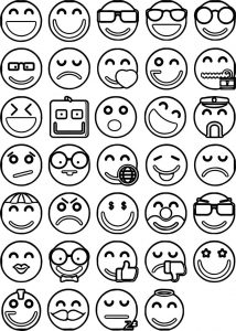 Emoticons all face coloring page