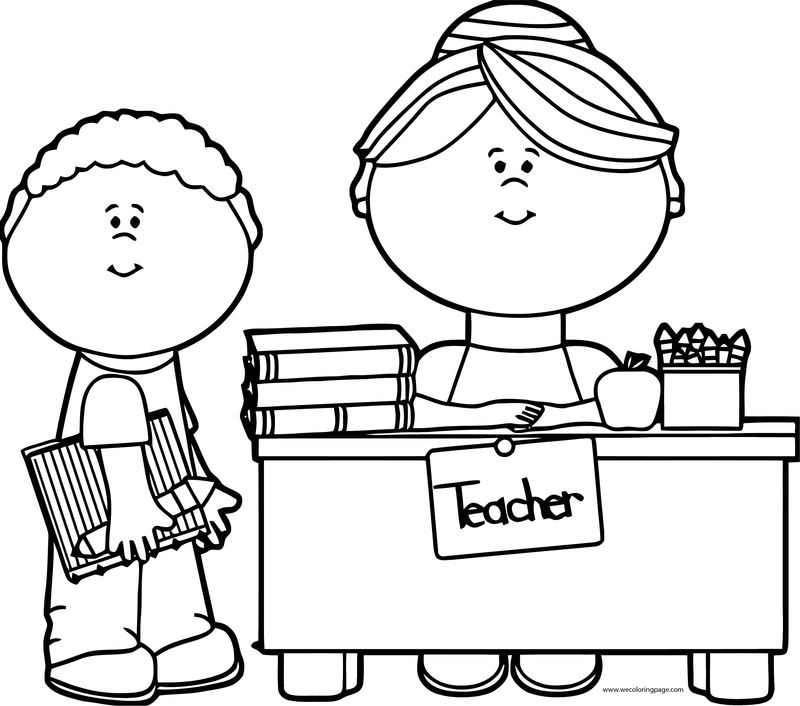 English Teacher Girl Boy Coloring Page