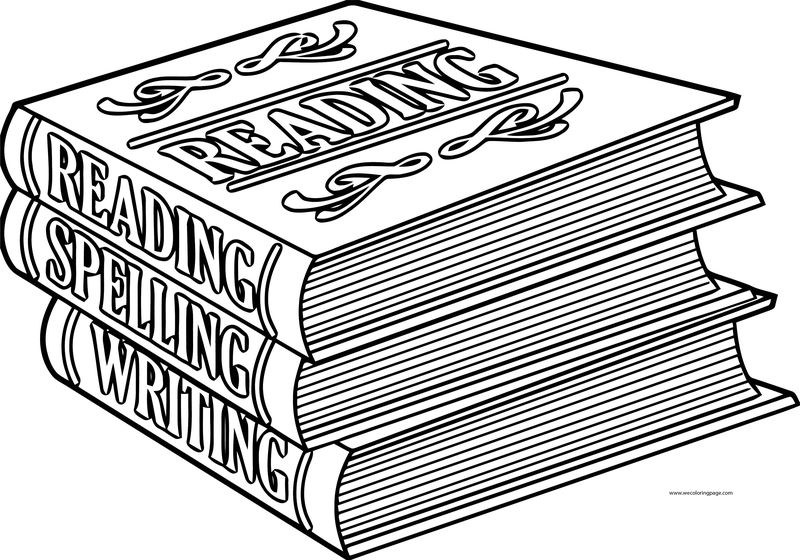 English Teacher Three Book Coloring Page