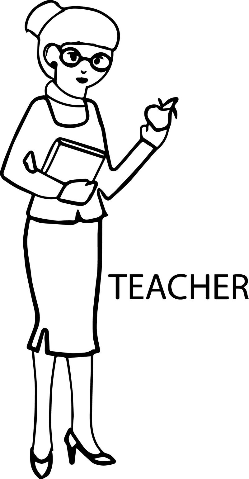 English Woman Teacher And Apple Coloring Page