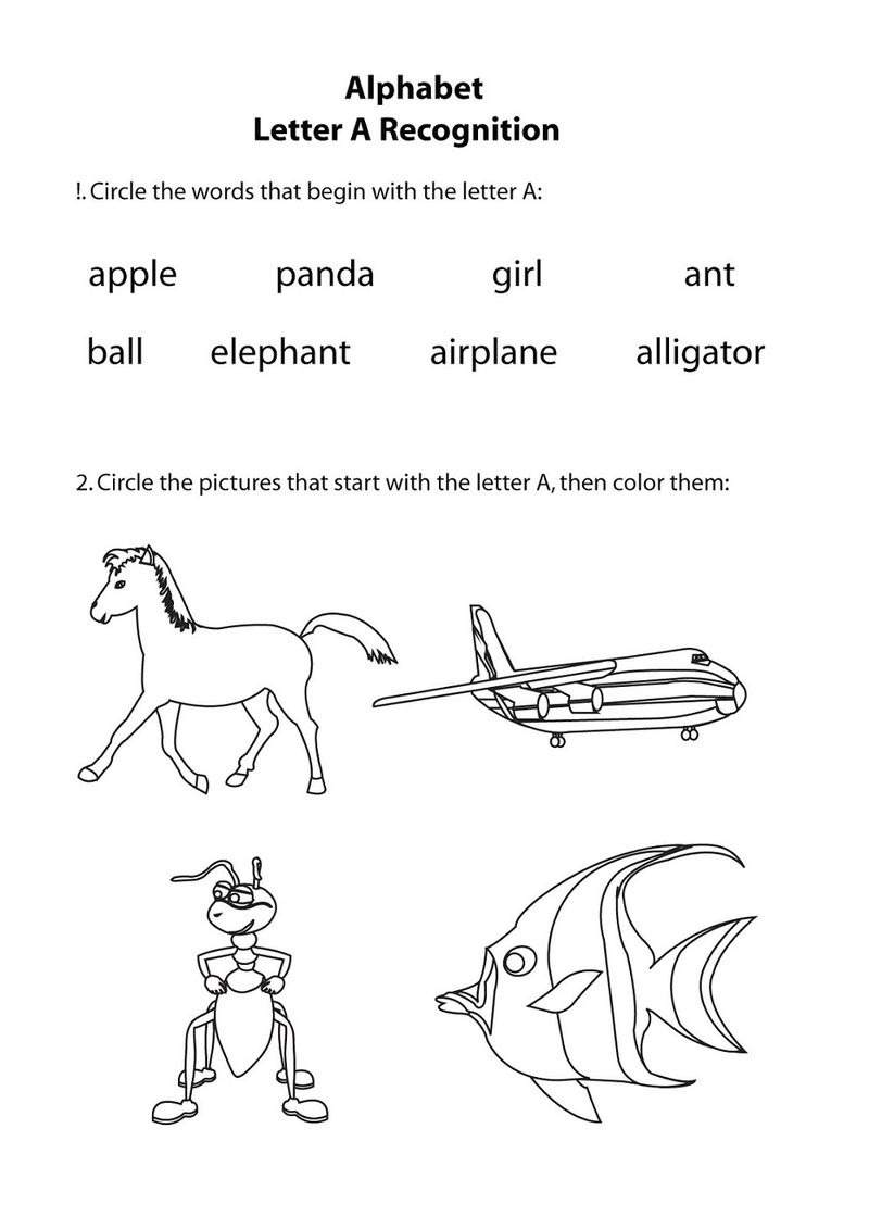 English Worksheet For Kids And For Color 001