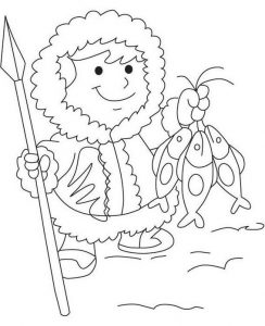 Eskimo getting fish coloring sheet