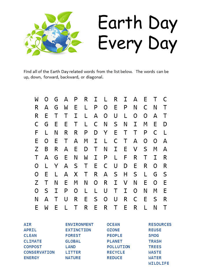 Every Day Is Earth Day Word Search