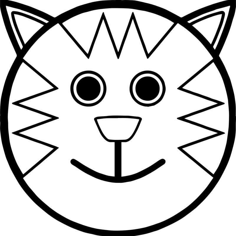 Face Cat Tiger Coloring Page