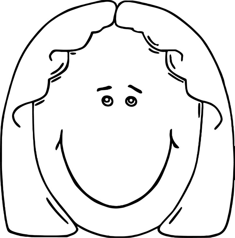 Face Lady Face Cartoon Clip Art Coloring Page 1