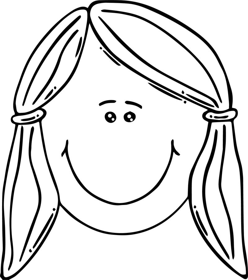 Face Smiling Girl Face Clip Art Coloring Page 1