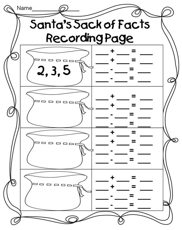 Fact Families Worksheets First Grade Easy